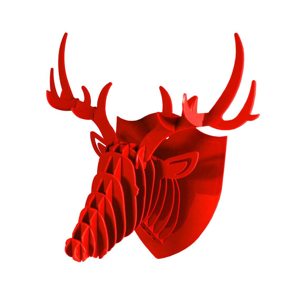 Cabeça para montar em acrilico vermelho - Cervo