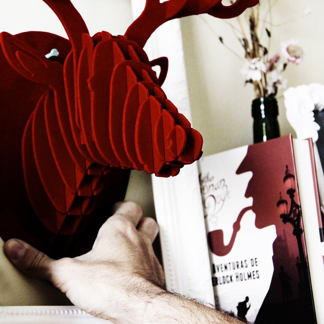Cabeça para montar - Cervo acrilico vermelho