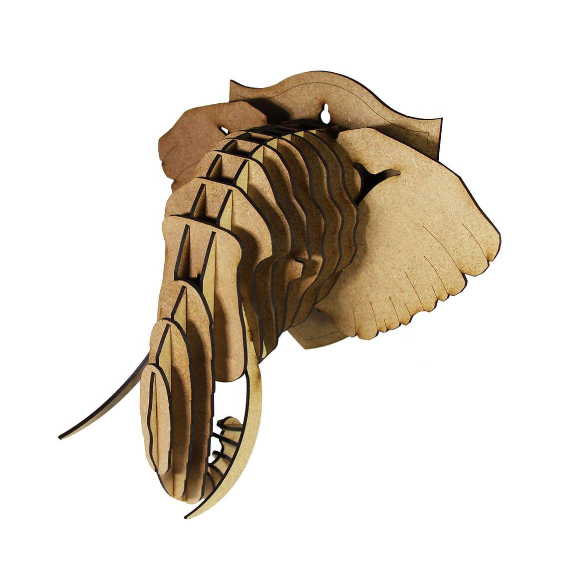 Cabeça para montar - Elefante MDF
