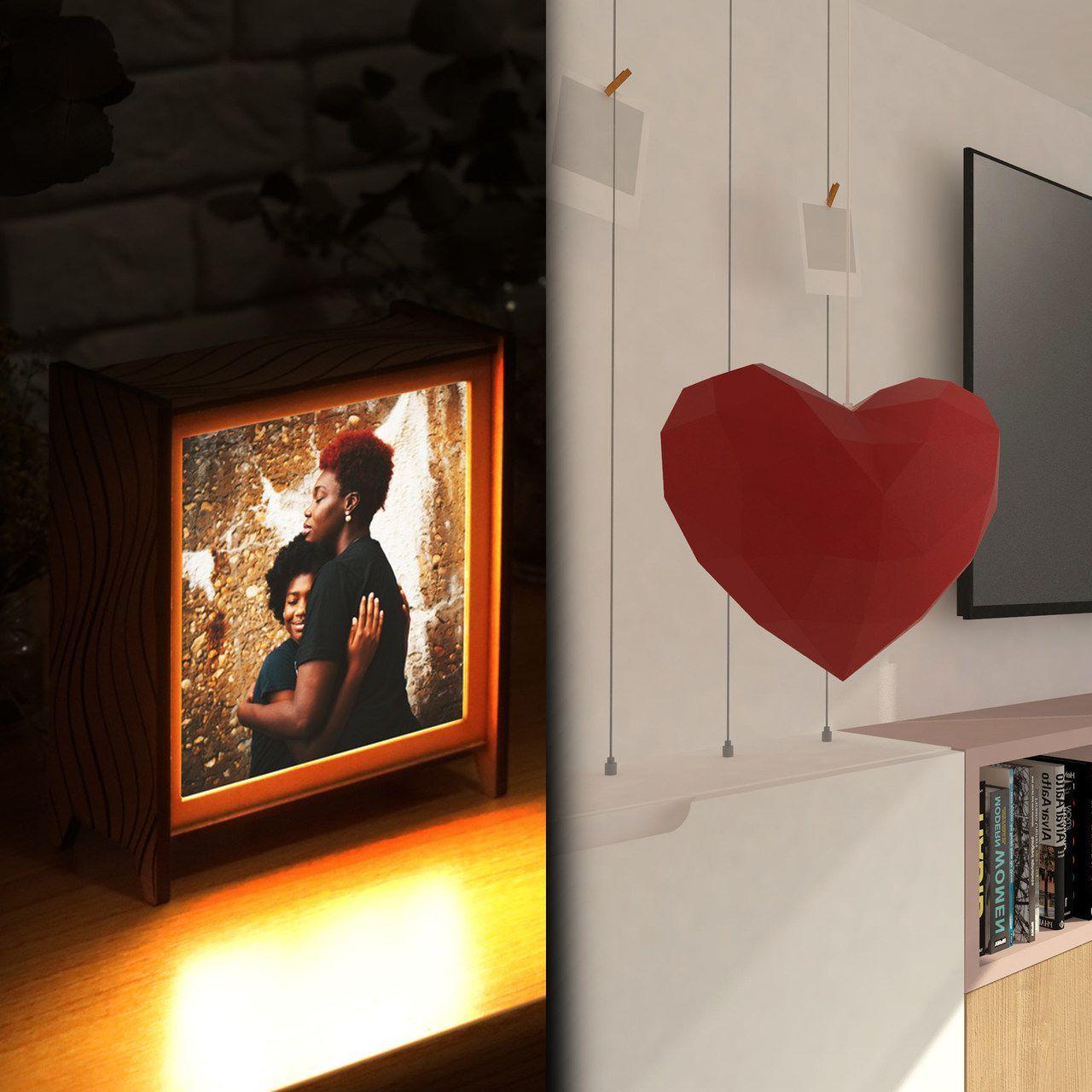Kit Dia das Mães - 1 luminária personalizada + 1 papercraft coração