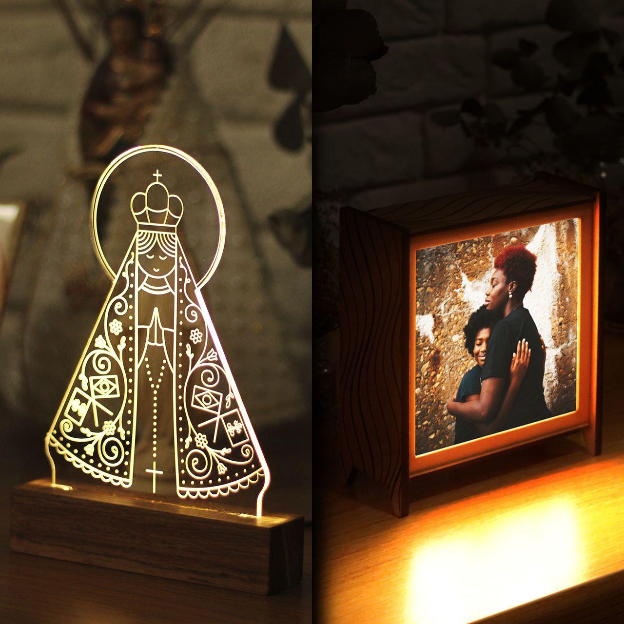 Kit Dia das Mães em dobro - 1 luminária de acrilico + 1 luminária personalizada