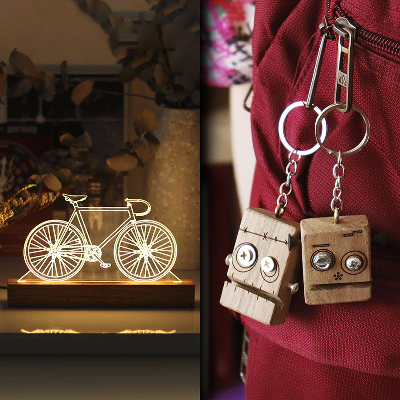 Kit Dia dos Namorados - 1 luminária Bicicleta Fixa + 2 chaveiros