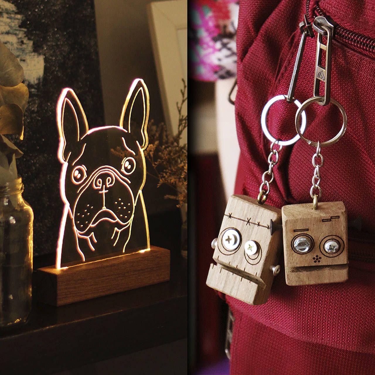 Kit Dia dos Namorados - 1 luminária Buldogue Francês + 2 chaveiros