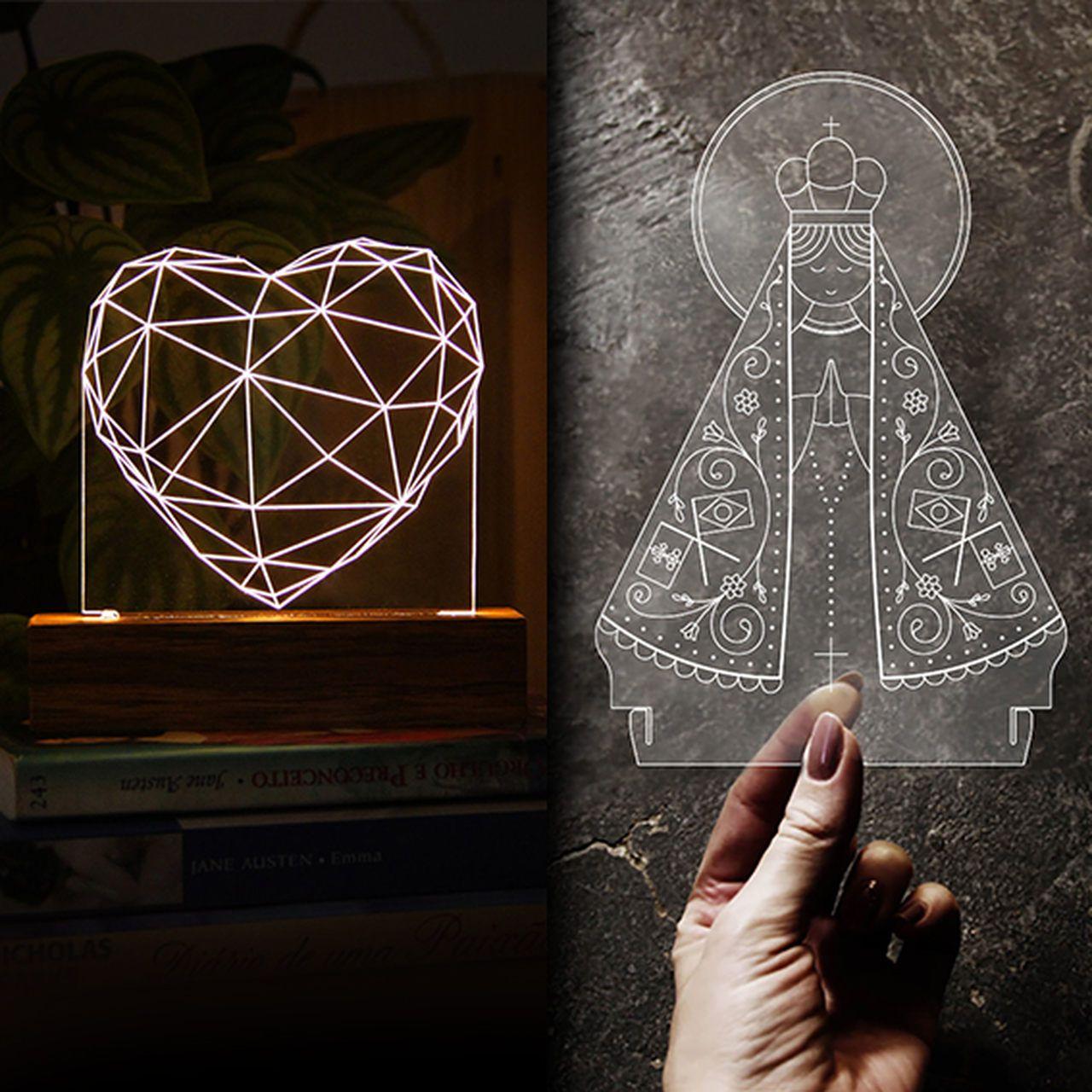 Kit Dia dos Namorados - 1 luminária Coração + 1 acrilico Nossa Senhora Aparecida