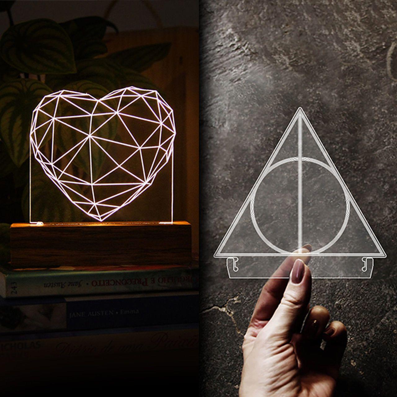 Kit Dia dos Namorados - 1 luminária Coração + 1 acrilico Relíquias