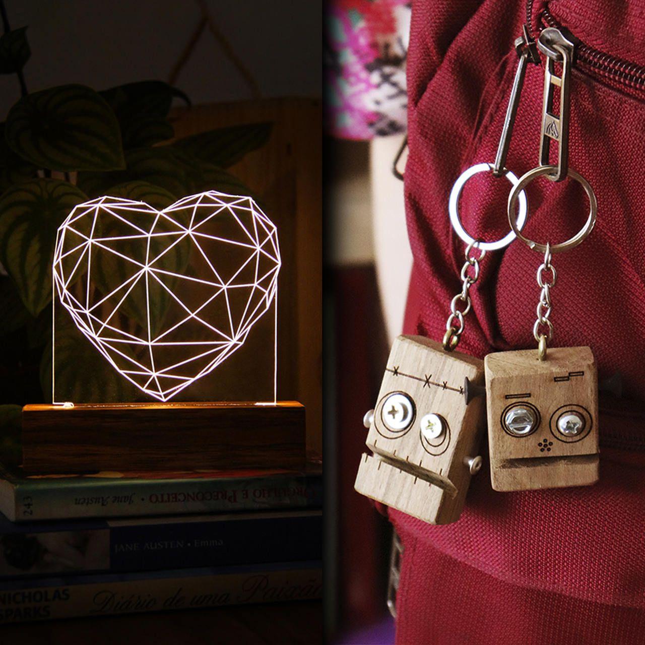 Kit Dia dos Namorados - 1 luminária Coração + 2 chaveiros