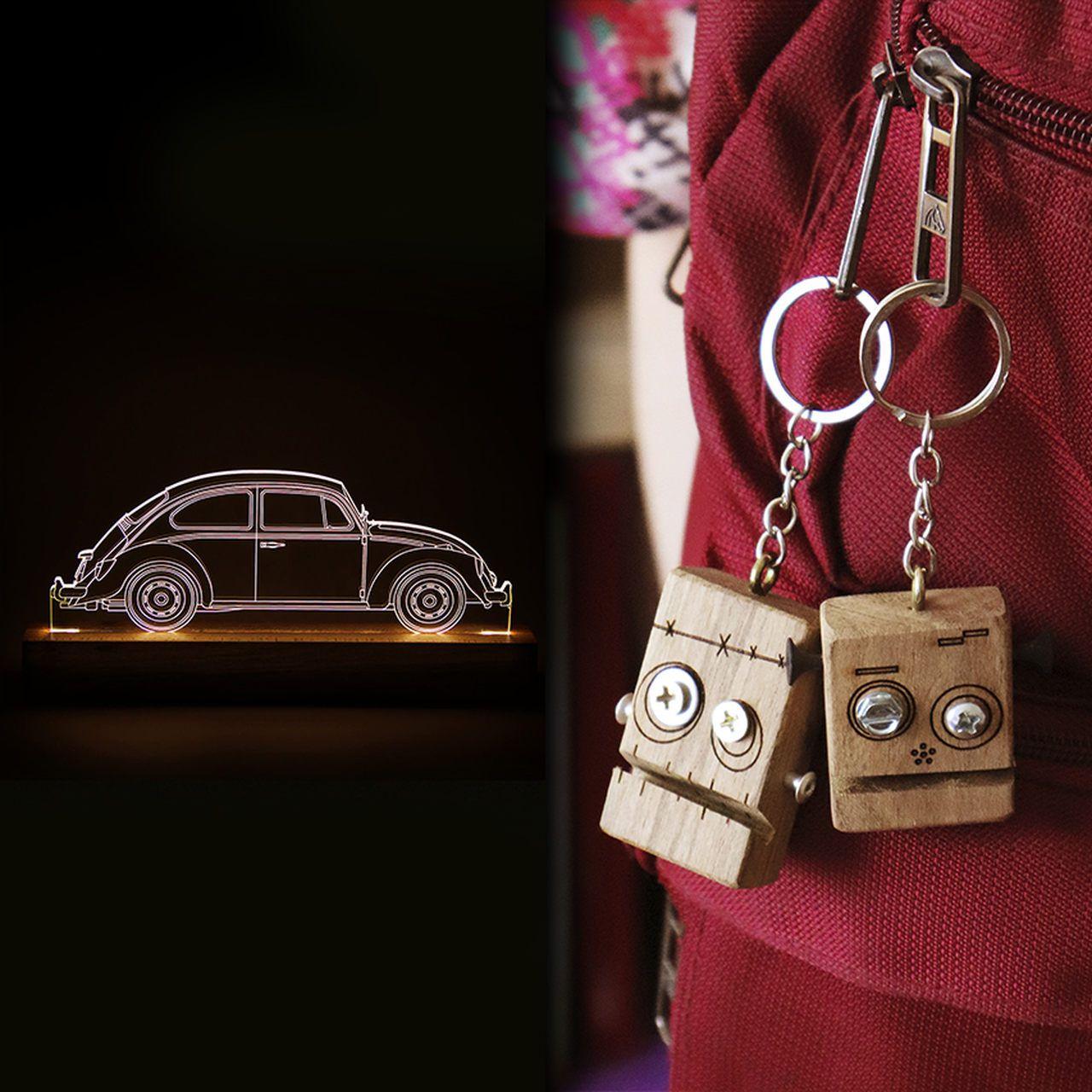 Kit Dia dos Namorados - 1 luminária Fusca + 2 chaveiros