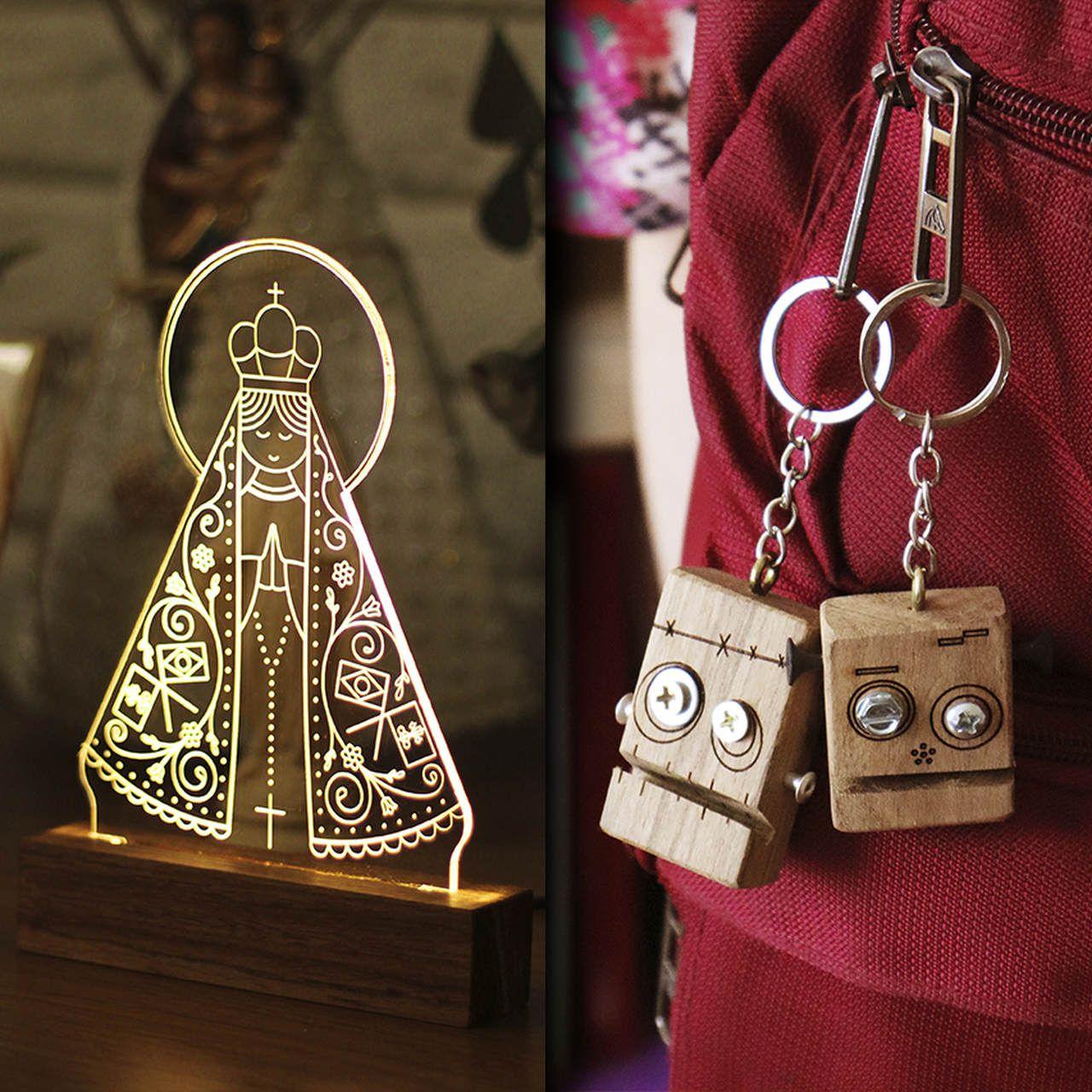 Kit Dia dos Namorados - 1 luminária Nossa Senhora Aparecida + 2 chaveiros