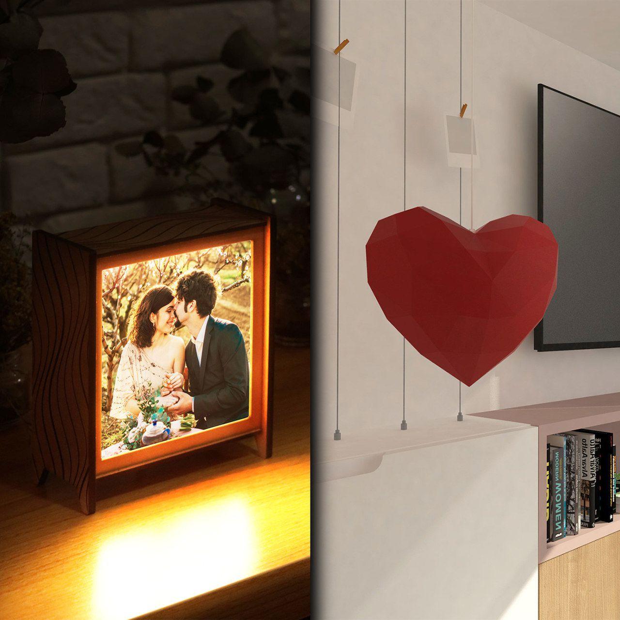Kit Dia dos Namorados - 1 luminária personalizada + 1 papercraft coração