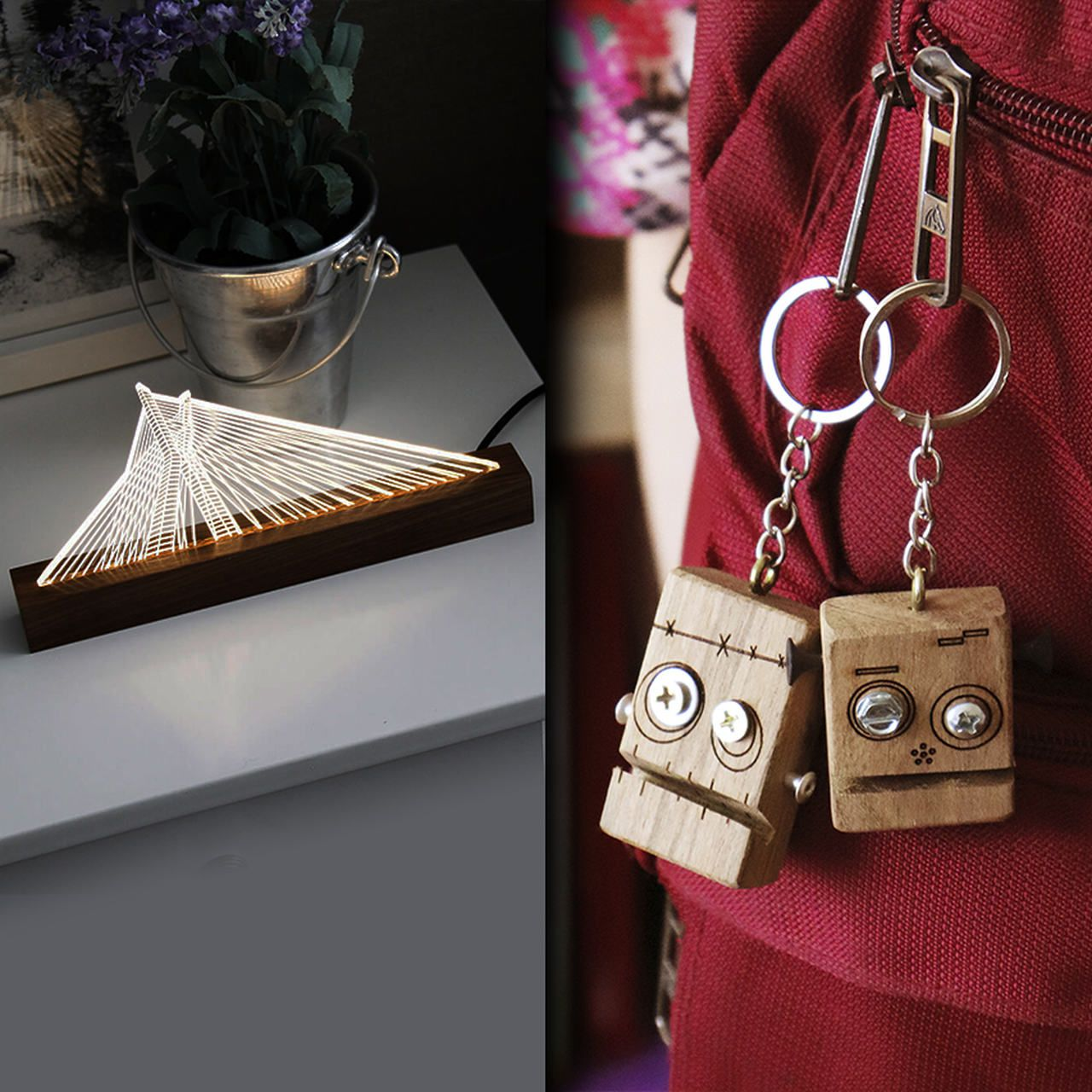 Kit Dia dos Namorados - 1 luminária Ponte Estaiada + 2 chaveiros