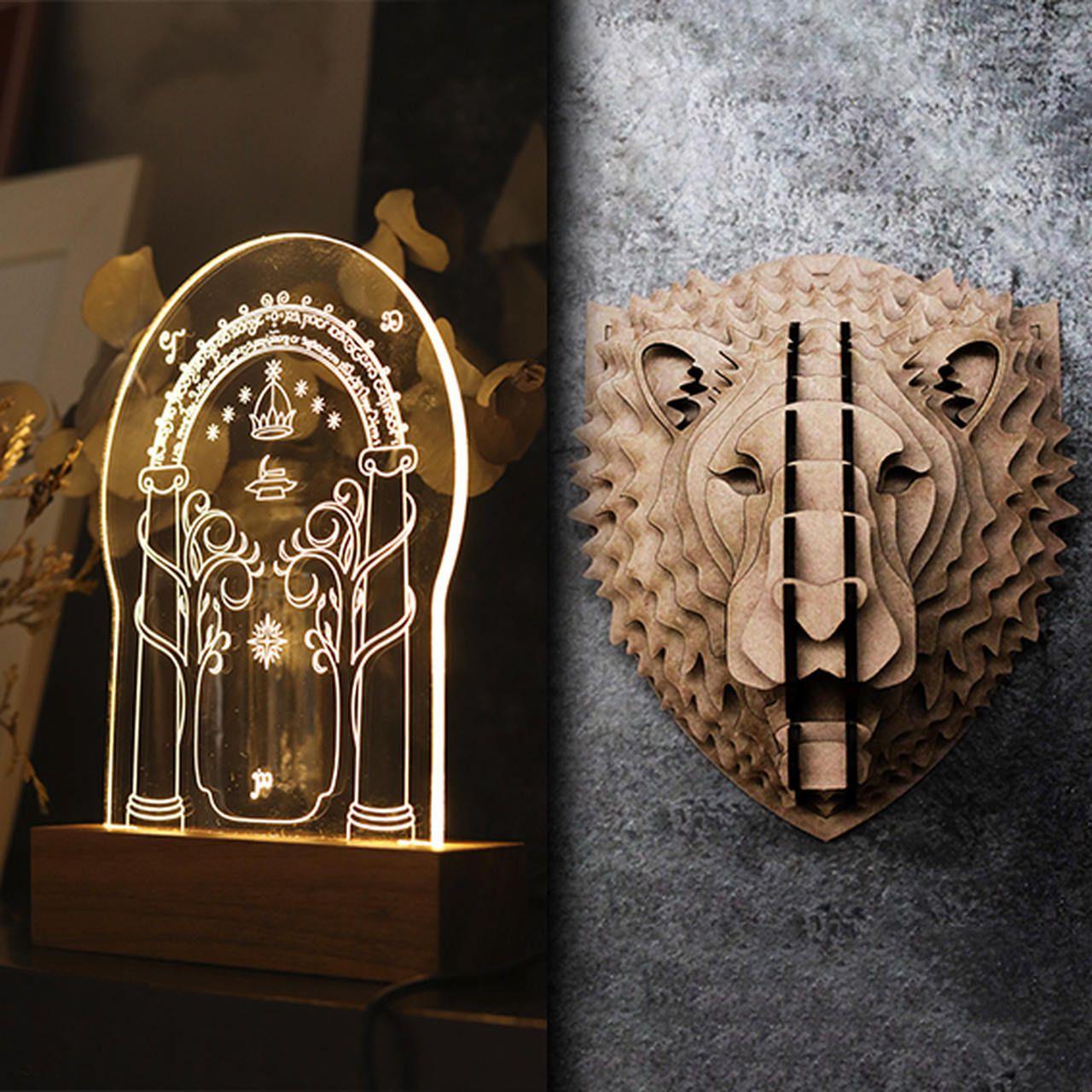 Kit Dia dos Namorados - 1 luminária Portão de Moria + 1 cabeça Leão