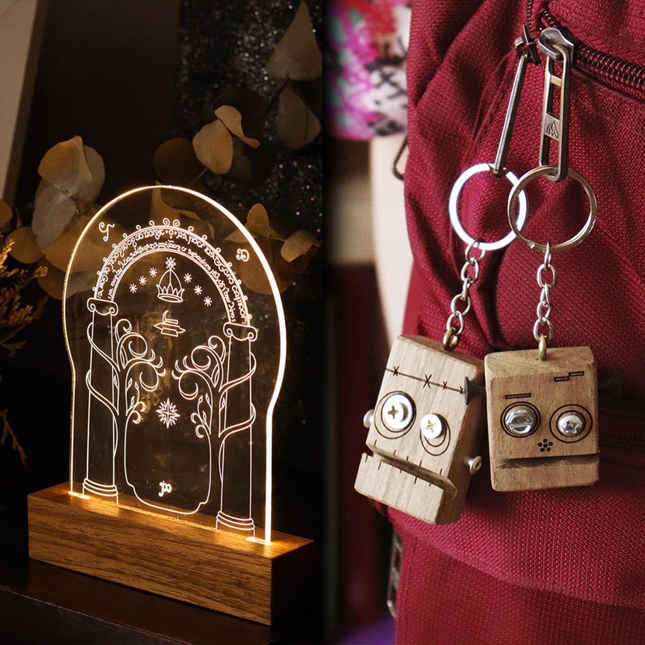 Kit Dia dos Namorados - 1 luminária Portão de Moria + 2 chaveiros