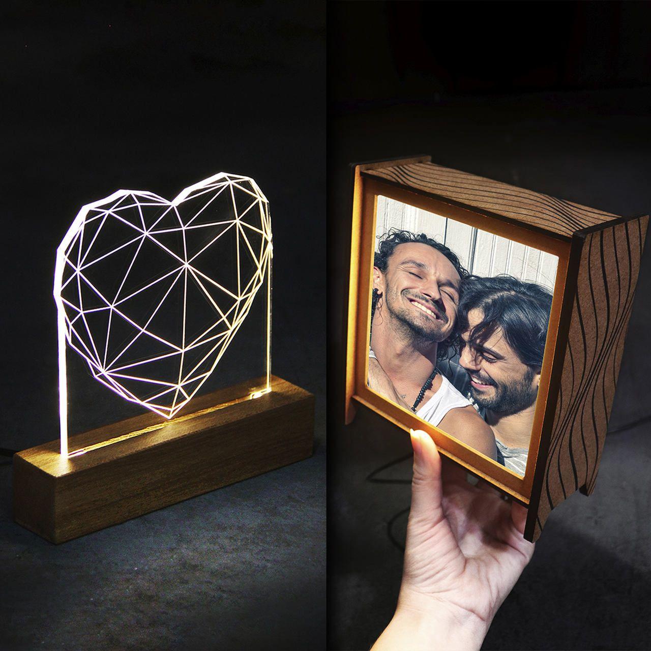 Kit Dia dos Namorados em dobro - 1 luminária de acrilico + 1 luminária personalizada