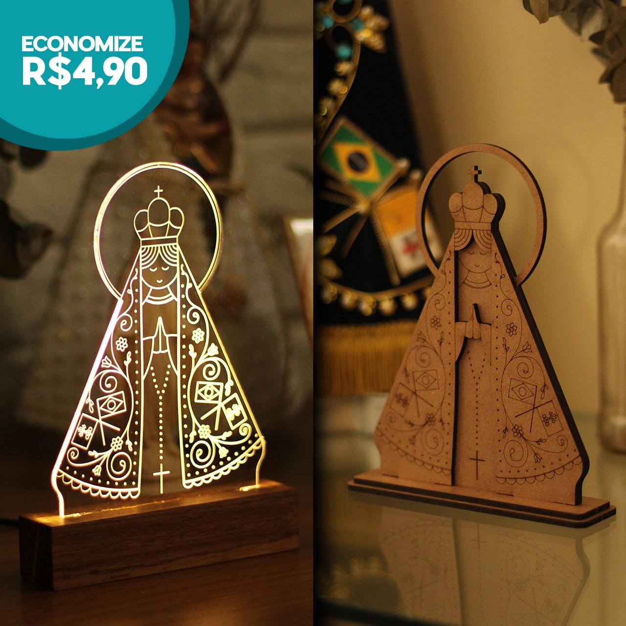 Luminária + Miniatura Nossa Senhora Aparecida