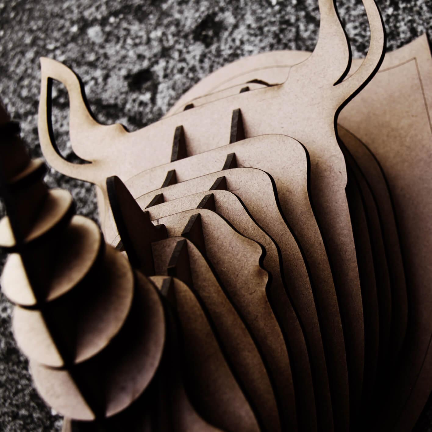 Cabeça para montar em MDF - Rinoceronte