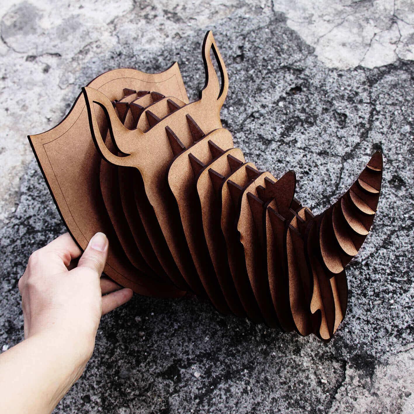 Cabeça para montar - Rinoceronte MDF