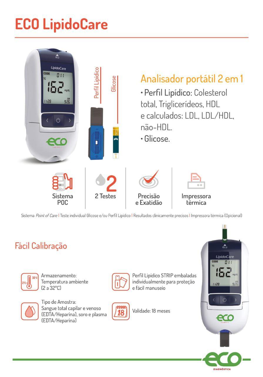 Analisador Portátil 2 em 1 Para Medição Quantitativa Lipídico e glicose LipidoCare