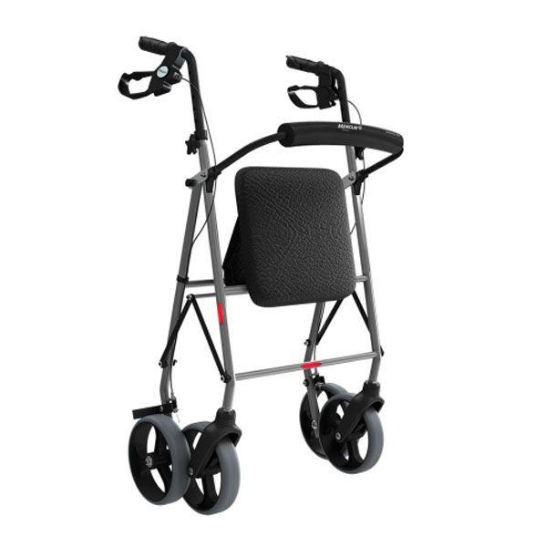 Andador de Alumínio com 4 Rodas Assento e Cesta Mercur