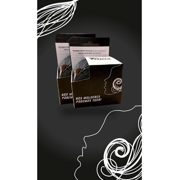 Bandagem Elástica Adesiva Kinésio Empoderamento Feminino Preta Tmax