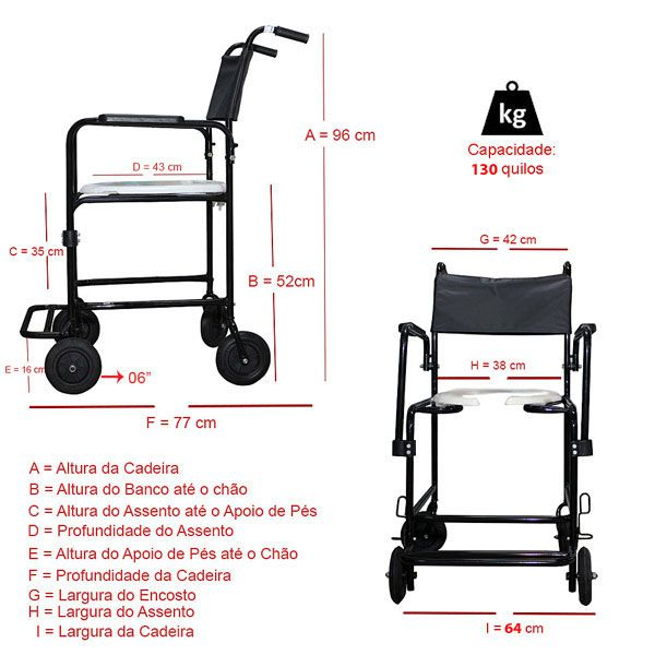 Cadeira de Rodas Para Banho Removível Braço e Pés Escamoteáveis CHM302 Dune