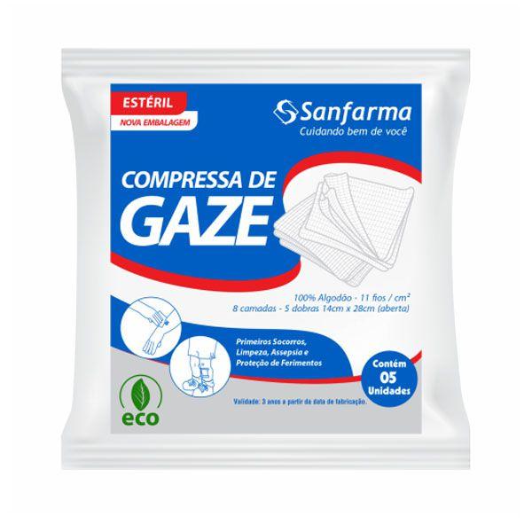 Compressas Esterilizadas de Gaze 100% Algodão 14x28 11 Fios Sanfarma C/05 Unds.