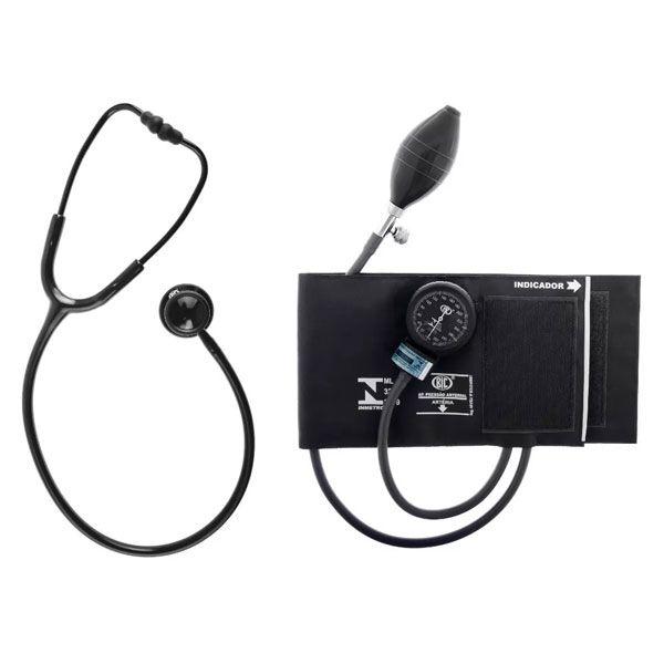 Conjunto Aparelho de Pressão Arterial Esfigmomanômetro e Estetoscópio Duplo Black Bic