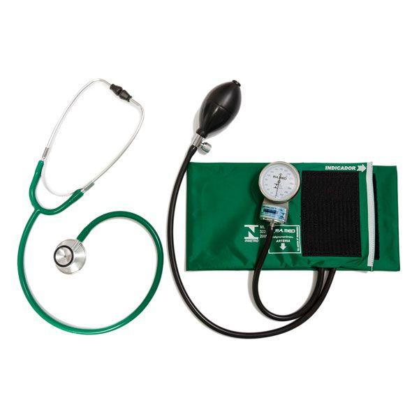 Conjunto Aparelho de Pressão Arterial Esfigmomanômetro e Estetoscópio Rappaport P.A. MED