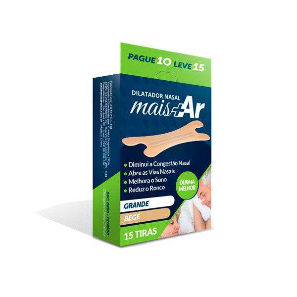 Dilatador Nasal Mais Ar Grande Bege 15 un. Tenlax