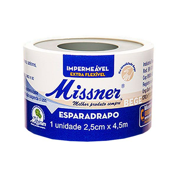 Esparadrapo Impermeável Bege 2,5cm x 4,5mt Missner