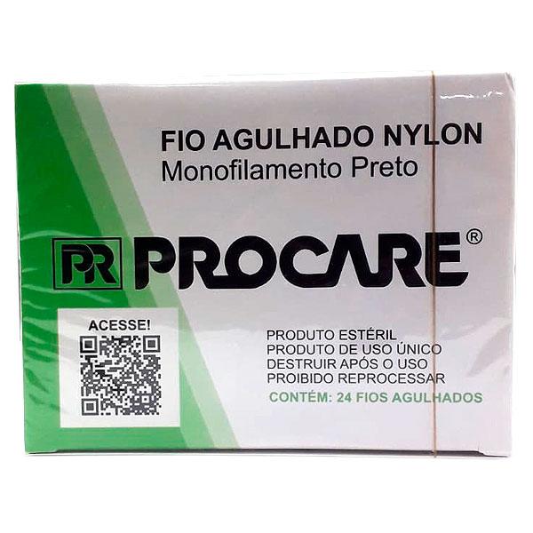 Fio Agulhado Sutura Monofilamento Nylon Preto 2-0 3,0cm 3/8 45cm Com 24 Fios Procare