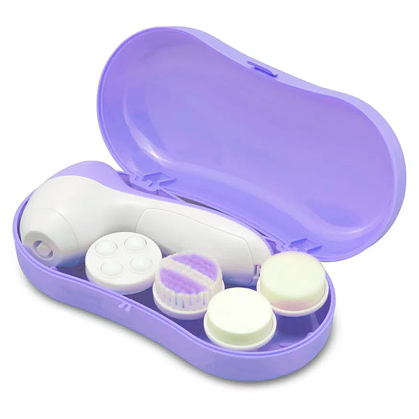 Kit Massageador Demaquilante Spa Facial Lilás HC180 Multilaser