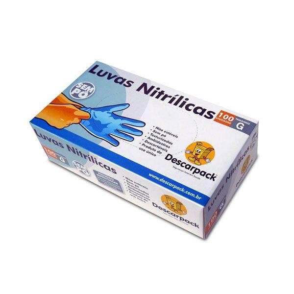 Luva Nitrílica Descartável Azul Sem Pó Caixa com 100 unidades Descarpack Tamanho G
