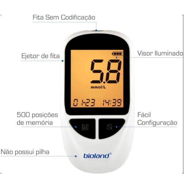 Medidor de Glicose Glicosimetro G500 Bioland