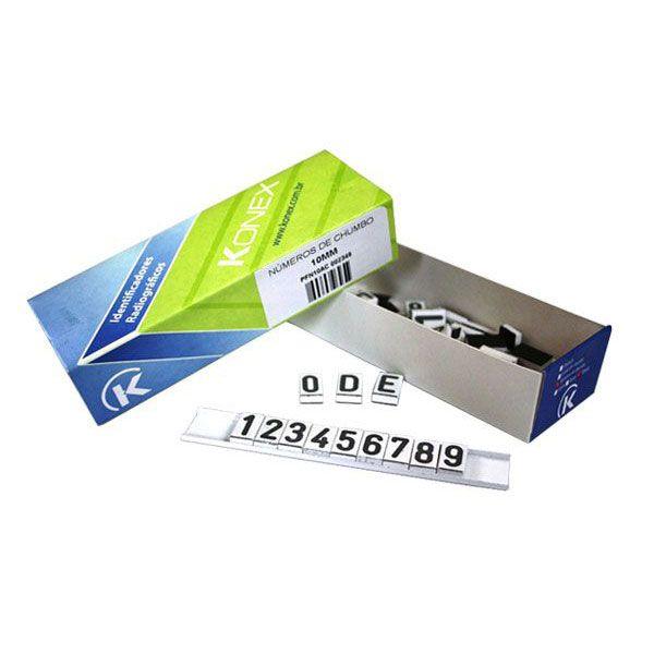 Números Radiológico de Chumbo com 50 Números 10 x 3mm Konex