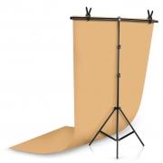 Kit Fundo Infinito Fotografico Backdrop de PVC com Suporte - Laranja - 100x200 cm