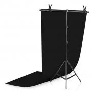 Kit Fundo Infinito Fotografico Backdrop de PVC com Suporte - Preto - 100x200 cm