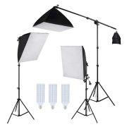 Kit Iluminação Estúdio LED 3x60W Softbox 50x70cm com Girafa
