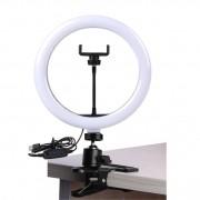 Iluminador Ring Led RL10 USB com Garra ST14 - 26cm - Controle Cor Luminosidade