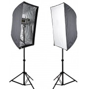 Kit Flash Estudio Atek Compact 2x150W com Tripé e Softbox 60x90cm