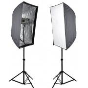 Kit Flash Estudio Atek Compact 2x350W com Tripé e Softbox 60x90cm
