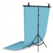 Kit Fundo Infinito Fotografico Backdrop de PVC com Suporte - Azul - 100x200 cm
