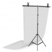 Kit Fundo Infinito Fotografico Backdrop de PVC com Suporte - Branco - 100x200 cm
