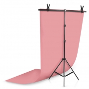 Kit Fundo Infinito Fotografico Backdrop de PVC com Suporte - Rosa - 100x200 cm