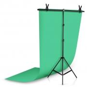 Kit Fundo Infinito Fotografico Backdrop de PVC com Suporte - Verde - 100x200 cm