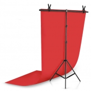 Kit Fundo Infinito Fotografico Backdrop de PVC com Suporte - Vermelho - 100x200 cm