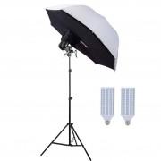 Kit Iluminação Estúdio 2x60W Brollybox 110cm  Suporte E27 Duplo e Tripé