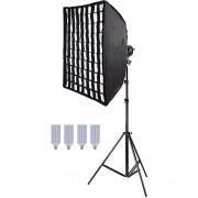 Kit Iluminação Estúdio 4x60W com Softbox 60x90 Grid Tubo Base E27 e Tripé