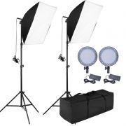 Kit Iluminação Estúdio - Softbox Led Light 50x70 - 126 Leds Ajuste de Cor e Potência
