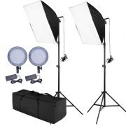 Kit Iluminacao Estudio Softbox Led Light 50x70 - 168 Leds Ajuste Potência