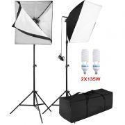 Kit Iluminação Estúdio - Softbox Light 60x60  2x135W